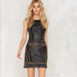 NASTY GAL sweet jane leather embellished dress